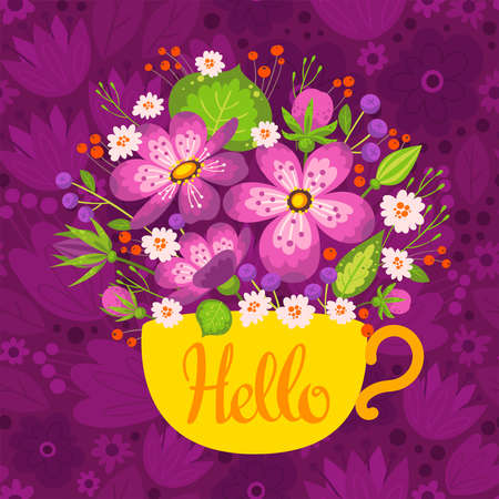 Hello flat vector welcoming postcard, greeting card template.