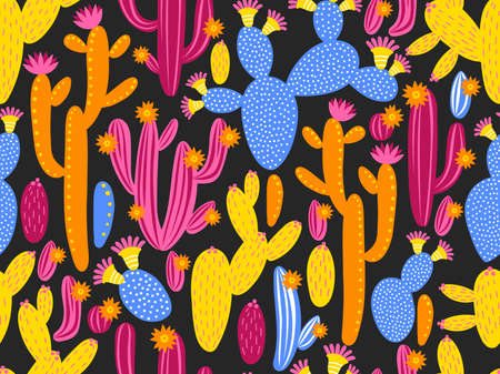 Vector seamless pattern with cactus on black background. Summer plants, flowers and leaves. Natural floral bright design. Botanical illustration.