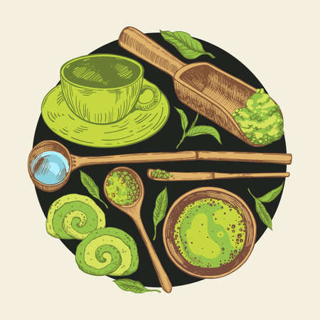 Matcha vector illustration with food and drink sketch. Round compositions. Japanese ethnic and national tea ceremony. Traditions of teatime. Decorative elements for your design. Archivio Fotografico - 155844783