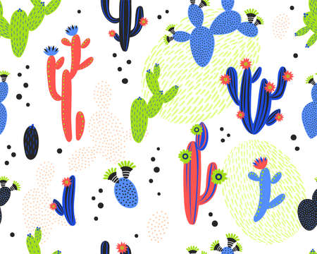 Vector seamless pattern with cactus on white background. Summer plants, flowers and leaves. Natural floral bright design. Botanical illustration. Archivio Fotografico - 155844789