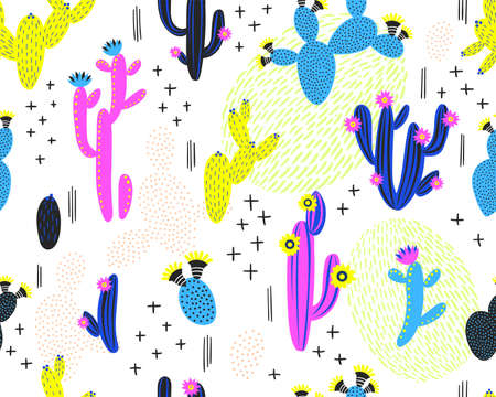 Vector seamless pattern with cactus on white background. Summer plants, flowers and leaves. Natural floral bright design. Botanical illustration.