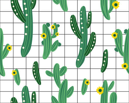 Vector seamless pattern with cactus on black and white geometric background. Summer plants, flowers and leaves. Natural floral bright design. Botanical illustration. Vettoriali