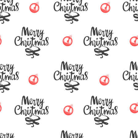 Christmas illustration in sketch style. Holiday seamless pattern with lettering and balls. New year decoration on white background.