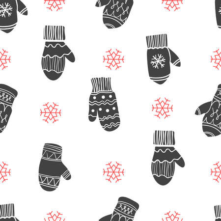 Christmas illustration in sketch style. Holiday seamless pattern with snowflake and gloves. New year decoration on white background. Archivio Fotografico - 155844803