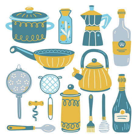 Set with kitchen utensil and appliance. Scandinavian illustration of kitchen elements in flat style. Funny cartoon texture with hand drawn food preparation and kitchenware. Vector doodle clipart. Vettoriali