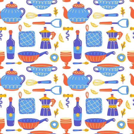 Seamless pattern with kitchen utensil and appliance. Scandinavian illustration of kitchen elements in flat style. Cartoon texture with hand drawn food preparation, kitchenware. Vector doodle clipart.