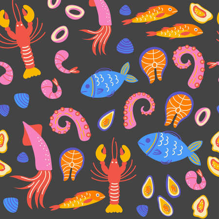 Seamless pattern with seafood. Scandinavian illustration witn healthy food in flat style. Cooking courses poster and text space. Copyspace concept for farm market, menu design, banner, cookbook page.