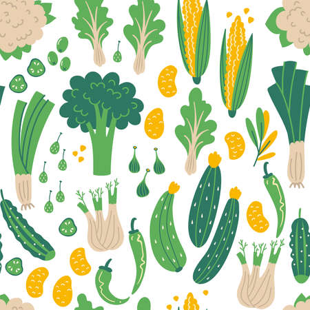 Seamless pattern of green vegetables. Flat hand drawn Illustration with healthy food. Organic products in sketch style. Isolated scandinavian items. Farm market, restaurant menu, cookbook page. Vettoriali