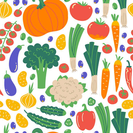 Seamless pattern with Illustration of vegetables. Flat hand drawn background with healthy food. Organic farm products in sketch style. Isolated scandinavian items. Vettoriali