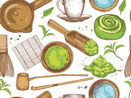 Matcha seamless pattern. Japaneese ethnic and national tea ceremony. Traditions of teatime. Decorative elements for your design. Vector Illustration food and drink sketch on white background.