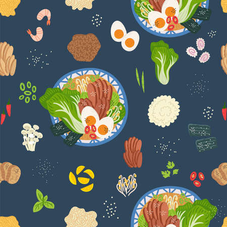 Seamless pattern. Ramen, udon, noodles in bowl on table. Top view. Vector illustration. Japanese soup, Ingredients in flat style. Asian food: miso, nori, soybean sprouts, kamaboko, enoki, bok choy. Vettoriali