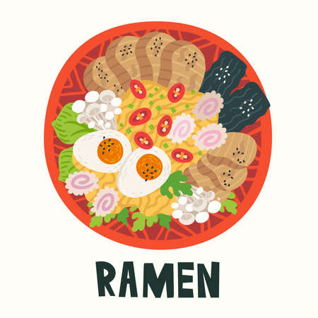 Ramen in bowl on table. Top view. Illustration with japanese soup in flat style. Asian food: miso, egg, nori, leek, noodles, pork, soybean sprouts, kamaboko, Enoki, Bok choy. Vector round composition.