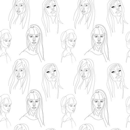 Women portraits on white background continuous one line vector seamless pattern Vettoriali