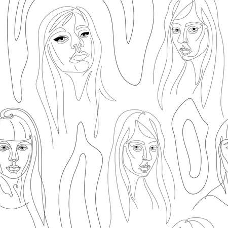 Women portraits on white background continuous one line vector seamless pattern.