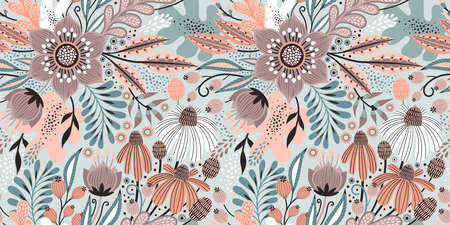 Floral seamless pattern on white. Abstract vector background with flowers and leaves. Natural bright design. Scandinavian style.