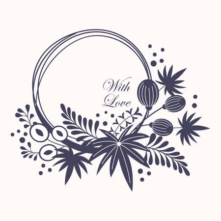 Wreath. Vector floral illustration with branches, berries and leaves. Black frame on white background.