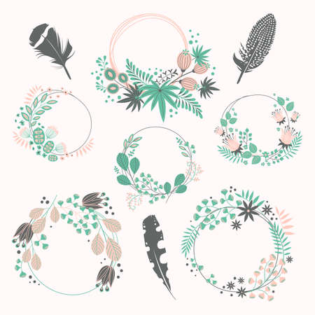 Wreath set. Vector floral illustration with branches, berries, feathers and leaves. Nature frame on white background.