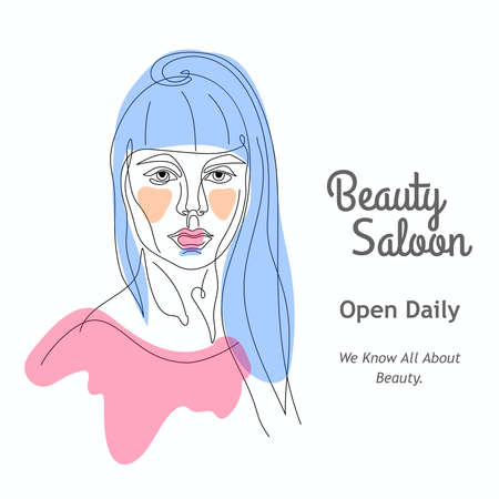 Facial expression portrait continuous one line vector illustration. Beauty saloon. Vettoriali