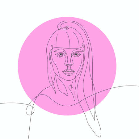 Facial expression portrait continuous one line vector illustration on pink round.