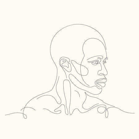 Facial expression portrait continuous one line vector illustration. Continuous line art.