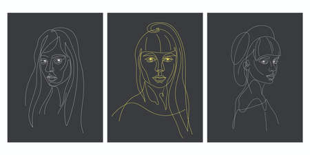 Facial expression portrait continuous one line vector illustration.