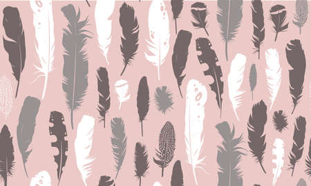 Seamless pink illustration with feathers. Natural vector pattern. Boho style. Simple silhouettes.