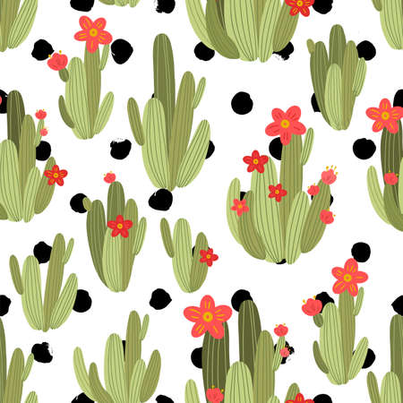 botanical illustration with Peruvian cactus. Vector seamless pattern on black and white geometric background. Summer plants.