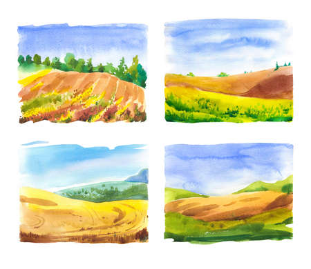 Set of watercolor illustration with landscape fields. Nature background. Organic farms. Eco growing. Agriculture. Archivio Fotografico - 157723557