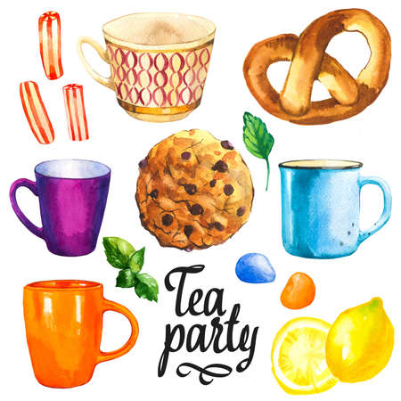 Tea party set on white background. Watercolor illustration of funny cups, sweets, candies, bun, roll. Decorative elements with traditional hot drinks for your design. Multicolor decor. Archivio Fotografico