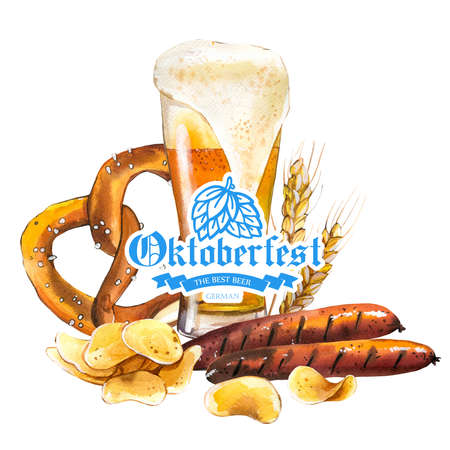 Oktoberfest. Watercolor illustration with glass of ale and snack: sausages, pretzel, chips in picturesque style for bar. Drink menu for celebration. Beer party poster. Archivio Fotografico