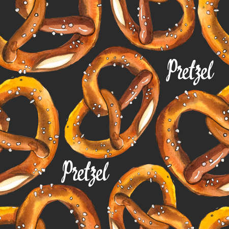 Seamless background with pretzel in watercolor style. Fresh organic products. Illustration hand-drawn pattern on black. Oktoberfest food. Traditional beer snack. Pub menu.