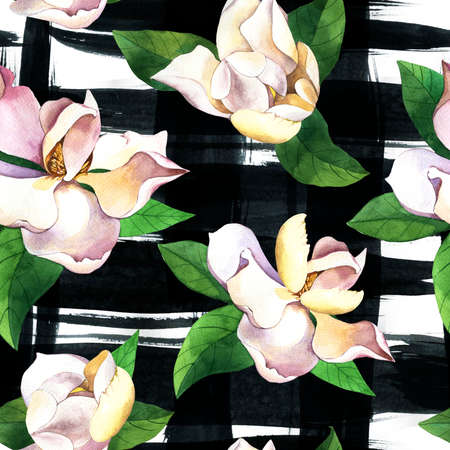 White flowers hand drawn seamless pattern. Gardenias n grunge black ink smudges background. Magnolias, roses with green leaves watercolor texture. Botanic wrapping paper, floral wallpaper design