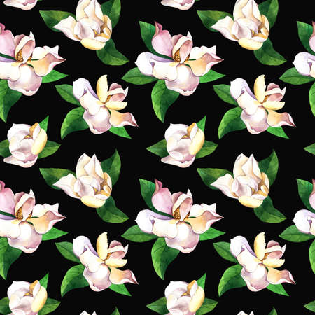 White flowers hand drawn seamless pattern. Gardenias on black background. Magnolias, roses with green leaves watercolor texture. Botanic wrapping paper, floral wallpaper design