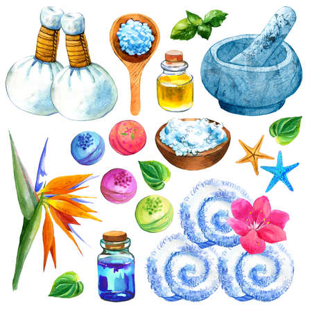 SPA illustrations with a variety of means for body and face: towel, flower, oil, massage bags, mortal, spoon and bowl with salt, lotion. Cosmetics for woman. Relaxation in salon