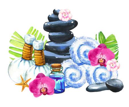 SPA watercolor illustrations with a variety of means for body and face: towel, flower, massage bags, stones, oil, palm leaves, lotion. Cosmetics for woman. Relaxation in salon