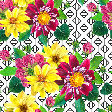 Flowers blossom, buds and leaves with aquarelle texture. Floral wrapping paper, wallpaper design Imagens