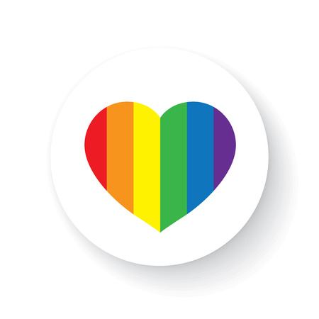 gay love: LGBT Gay love concept - Rainbow heart icon on white background .