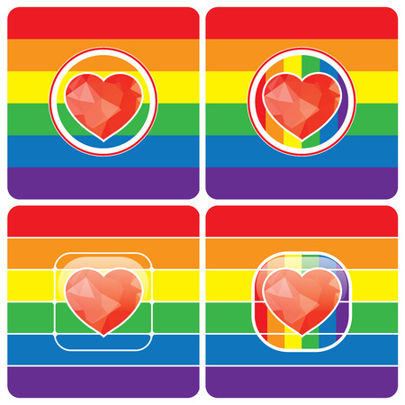 trans gender: LGBT Gay love concept - Rainbow heart icon on rainbow background . Illustration