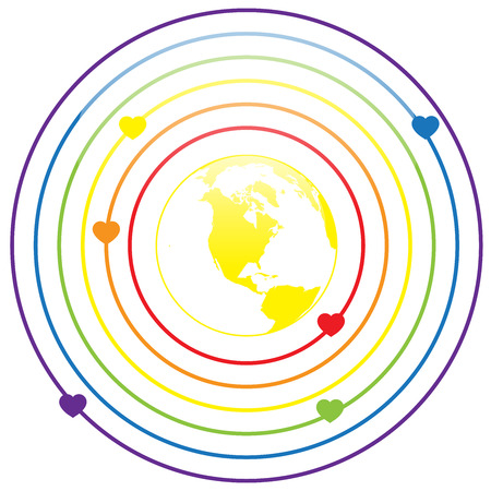 gay pride rainbow: LGBT Gay pride love concept - Circle rainbow lines with colorful heart around earth on white background