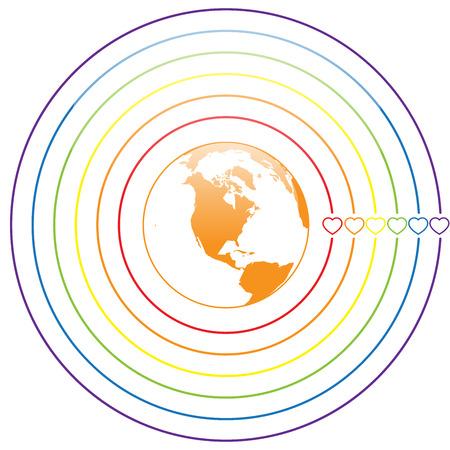 transsexual: LGBT Gay amor orgullo concepto - C�rculo l�neas del arco iris con colorido coraz�n alrededor de la tierra en el fondo blanco