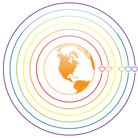 trans gender: LGBT Gay pride love concept - Circle rainbow lines with colorful heart around earth on white background