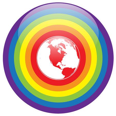 bandera gay: LGBT Gay amor orgullo concepto - Círculo líneas del arco iris con colorido corazón alrededor de la tierra en el fondo blanco