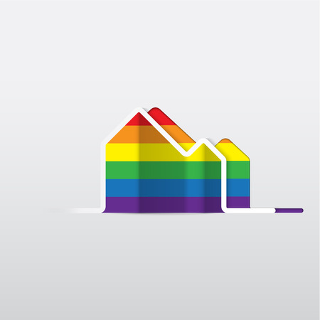gay love: LGBT Gay love concept - Rainbow house icon isolated on white background .