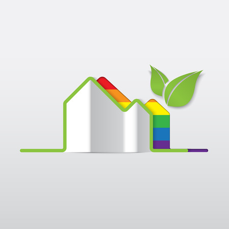 homosexuality: LGBT Gay love concept - Rainbow house icon isolated on white background .