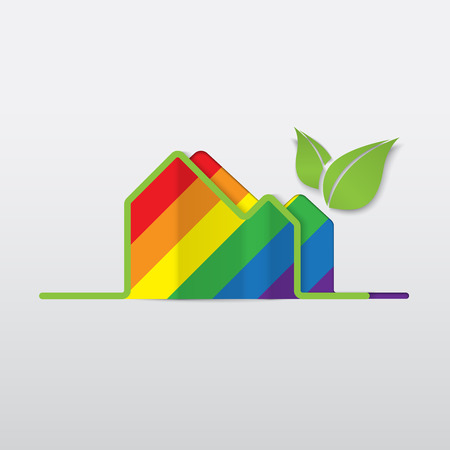 trans gender: LGBT Gay love concept - Rainbow house icon isolated on white background .