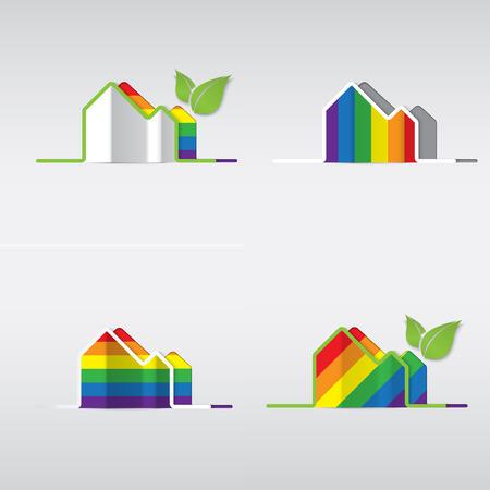 amor gay: LGBT Gay amor concepto - icono de la casa del arco iris en el fondo blanco. Vectores