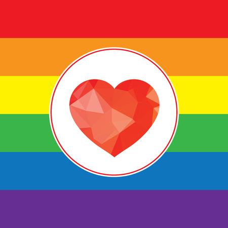 amor gay: LGBT Gay concepto de amor - icono del corazón del arco iris en el fondo del arco iris. Vectores