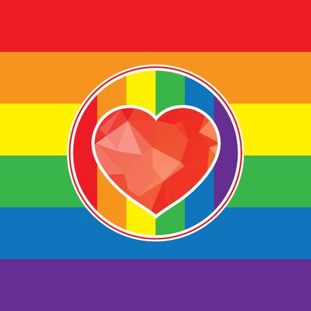 gay love: LGBT Gay love concept - Rainbow heart icon on rainbow background.