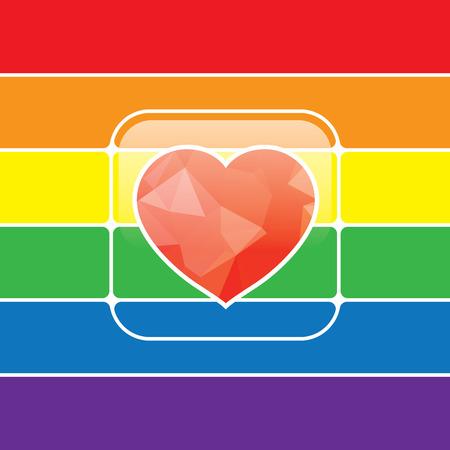 amor gay: LGBT Gay concepto de amor - icono del coraz�n del arco iris en el fondo del arco iris. Vectores