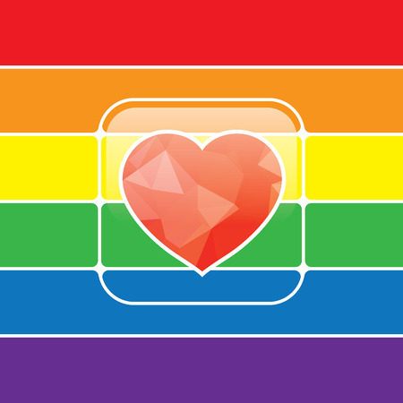trans gender: LGBT Gay love concept - Rainbow heart icon on rainbow background.